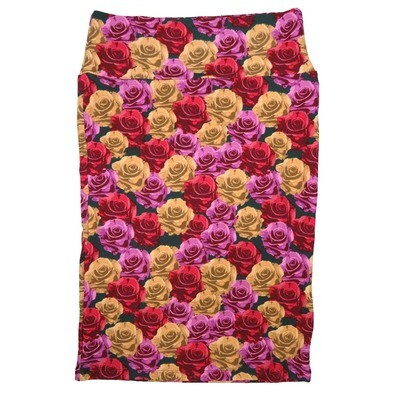 Cassie Small (S) LuLaRoe Black Red Gold Purple Roses Womens Knee Length Pencil Skirt Fits 6-8