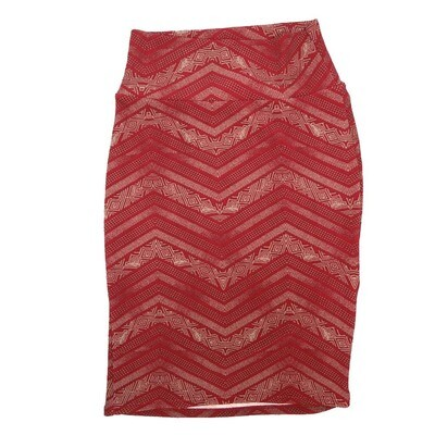 Cassie X-Small (XS) LuLaRoe Zig Zag Stripe Red White Womens Knee Length Pencil Skirt Fits 2-4