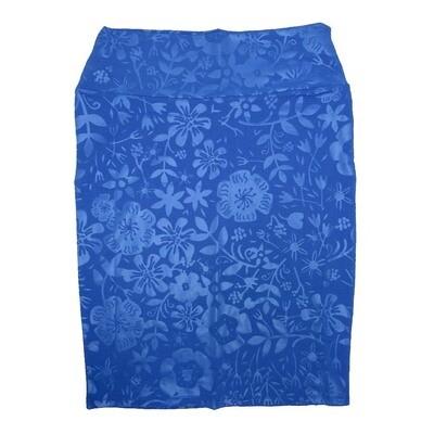 Cassie Medium (M) LuLaRoe Blue Floral Embossed Womens Knee Length Pencil Skirt Fits 10-12