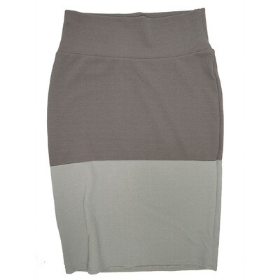 Cassie Small (S) LuLaRoe Two Tone Solid Dark Light Gray Womens Knee Length Pencil Skirt Fits 6-8