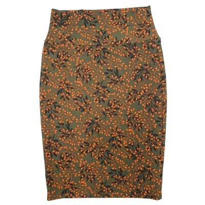 Cassie X-Small (XS) LuLaRoe Floral Dark Green Orange Black Womens Knee Length Pencil Skirt Fits 2-4