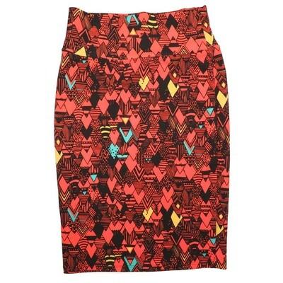 Cassie Small (S) LuLaRoe Red Black Blue Yellow Arrow Womens Knee Length Pencil Skirt Fits 6-8