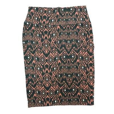 Cassie Small (S) LuLaRoe Dark Green Pink White Geometric Womens Knee Length Pencil Skirt Fits 6-8