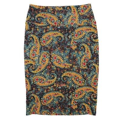 Cassie X-Small (XS) LuLaRoe Paisley Stripe Black Yellow Light Blue Womens Knee Length Pencil Skirt Fits 2-4