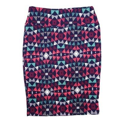 Cassie Medium (M) LuLaRoe Navy Pink White Traingles Womens Knee Length Pencil Skirt Fits 10-12