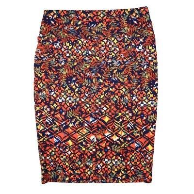 Cassie Medium (M) LuLaRoe Navy Multi Floral Womens Knee Length Pencil Skirt Fits 10-12