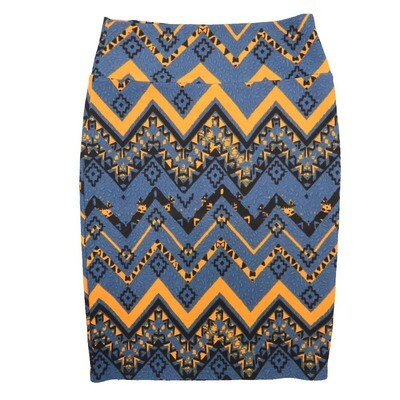 Cassie Medium (M) LuLaRoe Slate Blue Gold Geometric Womens Knee Length Pencil Skirt Fits 10-12
