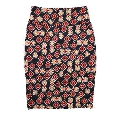 Cassie Medium (M) LuLaRoe Black Light Yellow Floral Womens Knee Length Pencil Skirt Fits 10-12