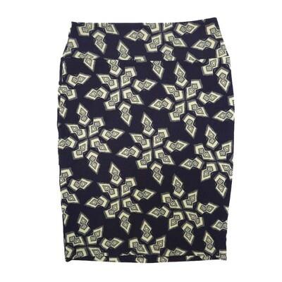 Cassie Medium (M) LuLaRoe Black Light cream Geometric Womens Knee Length Pencil Skirt Fits 10-12