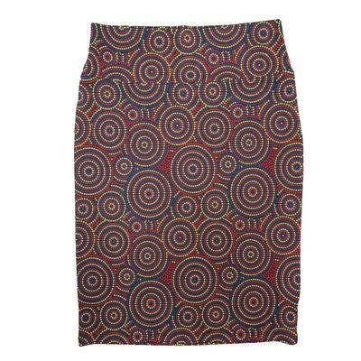 Cassie Medium (M) LuLaRoe Polka Red Blue Yellow Womens Knee Length Pencil Skirt Fits 10-12