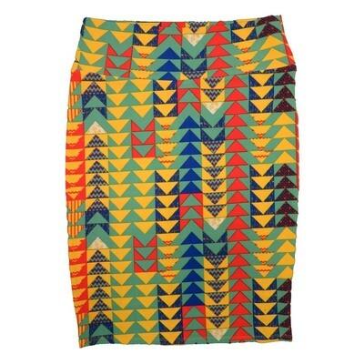 Cassie Medium (M) LuLaRoe Yellow Light Gren Blue Orange Arrow Geometric Womens Knee Length Pencil Skirt Fits 10-12