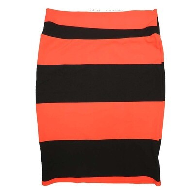 Cassie X-Large (XL) LuLaRoe Two Tone Solid Stripe Orange Black Womens Knee Length Pencil Skirt Fits 18-20