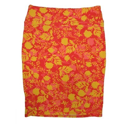 Cassie X-Large (XL) LuLaRoe Floral Gold Red Pink Womens Knee Length Pencil Skirt Fits 18-20