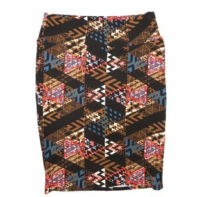 Cassie X-Large (XL) LuLaRoe Geometric Stripe Zig Zag Brown White Coral Blue Womens Knee Length Pencil Skirt Fits 18-20