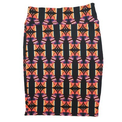 Cassie X-Large (XL) LuLaRoe Butterfly Geometric Black Purple Coral Womens Knee Length Pencil Skirt Fits 18-20