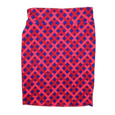 Cassie X-Large (XL) LuLaRoe Interwoven Geometric Polka Dot Red Light Pink Blue Womens Knee Length Pencil Skirt Fits 18-20