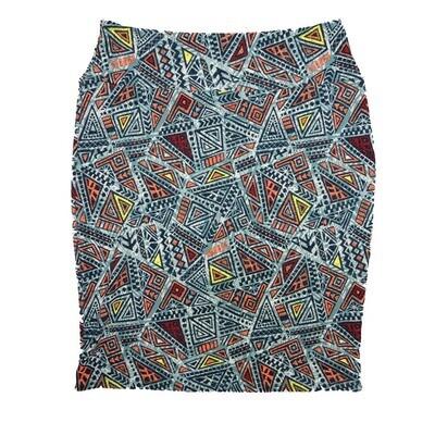 Cassie X-Large (XL) LuLaRoe Triangle Chevron Trippy Geometric Light Blue Peach Yellow Womens Knee Length Pencil Skirt Fits 18-20