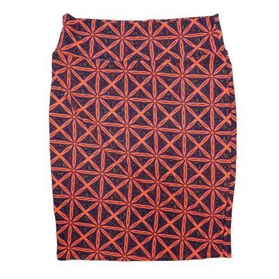 Cassie X-Large (XL) LuLaRoe Geometric Checker Pink Blue Womens Knee Length Pencil Skirt Fits 18-20