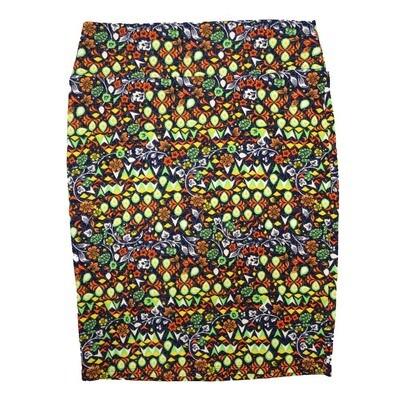Cassie X-Large (XL) LuLaRoe Floral Geometric Yellow Orange Green Womens Knee Length Pencil Skirt Fits 18-20