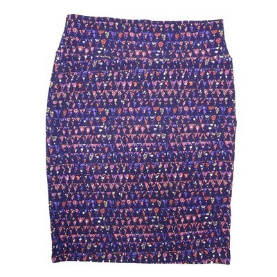 Cassie X-Large (XL) LuLaRoe Geometric Triangles Purple Pink White Womens Knee Length Pencil Skirt Fits 18-20
