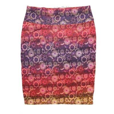 Cassie X-Large (XL) LuLaRoe Mandala Stripe Red Purple Gold Womens Knee Length Pencil Skirt Fits 18-20