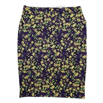 Cassie X-Large (XL) LuLaRoe Floral Geometric Purple Yellow Womens Knee Length Pencil Skirt Fits 18-20