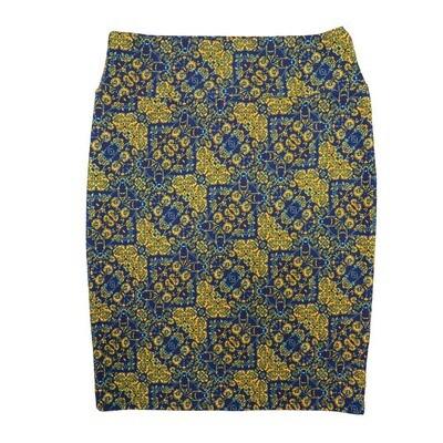 Cassie X-Large (XL) LuLaRoe Geometric Yellow Blue Womens Knee Length Pencil Skirt Fits 18-20