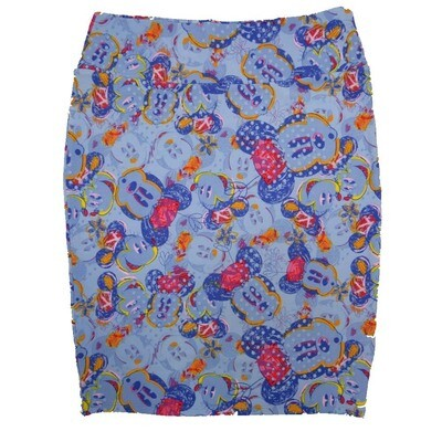 Cassie X-Large (XL) LuLaRoe Disney Mickey Mouse Blue Green Yellow Polka Dot Womens Knee Length Pencil Skirt Fits 18-20