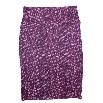 Cassie Small (S) LuLaRoe Purple Zig Zag Polka White Womens Knee Length Pencil Skirt Fits 6-8