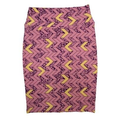 Cassie Small (S) LuLaRoe Dusty Rose Gold Purple Arrows Womens Knee Length Pencil Skirt Fits 6-8