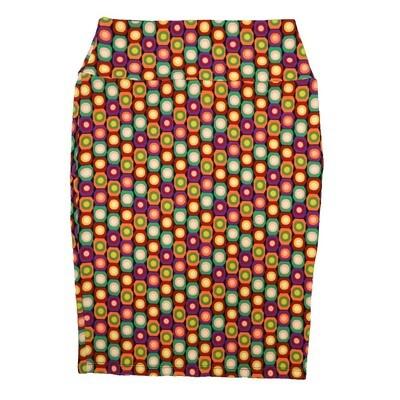 Cassie Small (S) LuLaRoe Polka Purple Yellow Orange White Womens Knee Length Pencil Skirt Fits 6-8