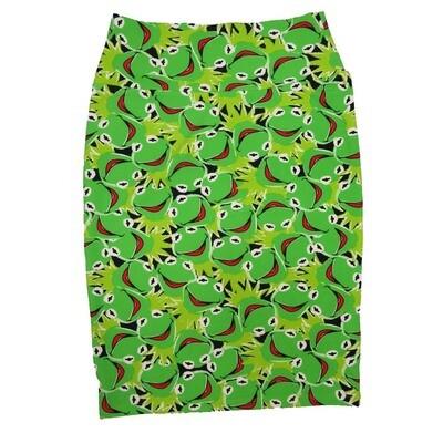 Cassie Small (S) LuLaRoe Disney Kermit Black Green Womens Knee Length Pencil Skirt Fits 6-8