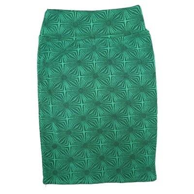 Cassie Small (S) LuLaRoe Green Polka Womens Knee Length Pencil Skirt Fits 6-8