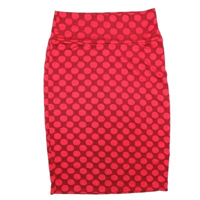 Cassie Small (S) LuLaRoe Red Polka Womens Knee Length Pencil Skirt Fits 6-8