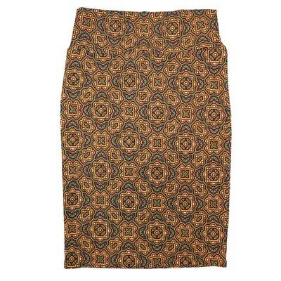 Cassie Small (S) LuLaRoe Yellow Green Dark Maroon Mandal Womens Knee Length Pencil Skirt Fits 6-8