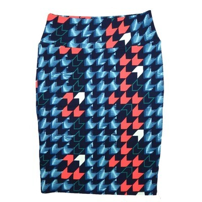 Cassie Small (S) LuLaRoe Navy Pink White Arrows Womens Knee Length Pencil Skirt Fits 6-8