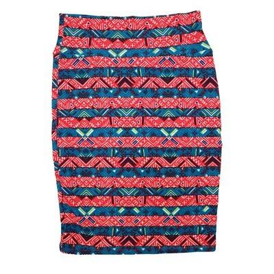 Cassie Small (S) LuLaRoe Light Blue Red cream Geometric Womens Knee Length Pencil Skirt Fits 6-8