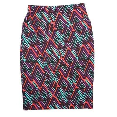 Cassie Small (S) LuLaRoe Zig Zag Purple Pink Light Green Womens Knee Length Pencil Skirt Fits 6-8