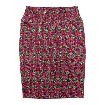 Cassie Small (S) LuLaRoe Red Orange Green Purple Zig Zag Womens Knee Length Pencil Skirt Fits 6-8