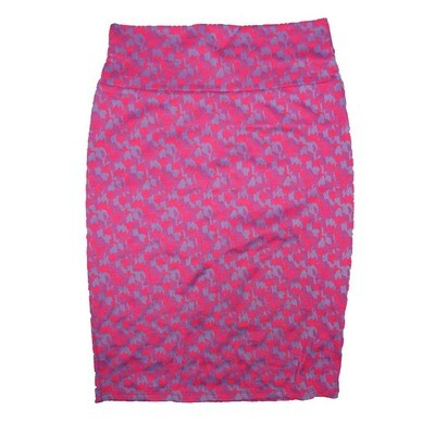 Cassie Small (S) LuLaRoe Pink Purple Blue Geometric Womens Knee Length Pencil Skirt Fits 6-8