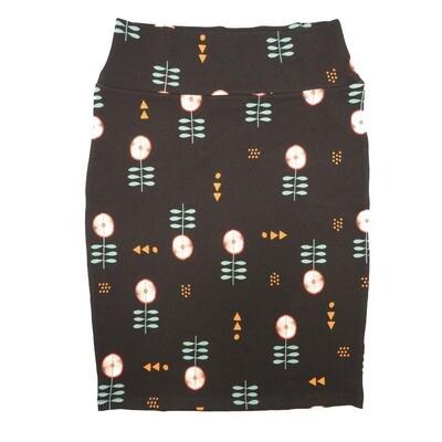 Cassie Small (S) LuLaRoe Black Light Green Gold Floral Womens Knee Length Pencil Skirt Fits 6-8