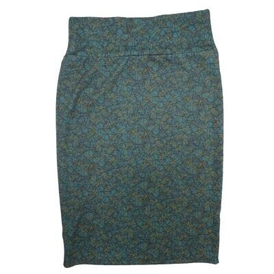 Cassie Small (S) LuLaRoe Light Blue Yellow Geometric Womens Knee Length Pencil Skirt Fits 6-8
