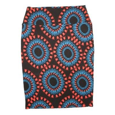 Cassie Small (S) LuLaRoe Black Coral Blue Mandala Flroal Womens Knee Length Pencil Skirt Fits 6-8
