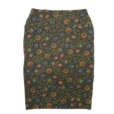 Cassie Small (S) LuLaRoe Black Orange Green Purple Flroal Womens Knee Length Pencil Skirt Fits 6-8