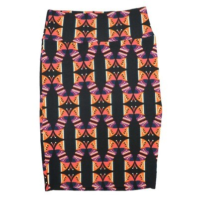 Cassie Small (S) LuLaRoe Black Orange Purple Butterfly Womens Knee Length Pencil Skirt Fits 6-8