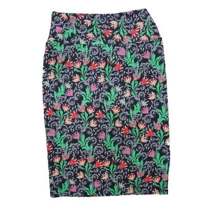 Cassie Small (S) LuLaRoe Black Mint Geen Pink Purple Floral Womens Knee Length Pencil Skirt Fits 6-8