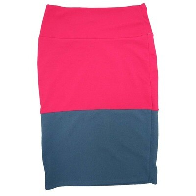 Cassie Small (S) LuLaRoe Two Tone Solid Red Blue Womens Knee Length Pencil Skirt Fits 6-8