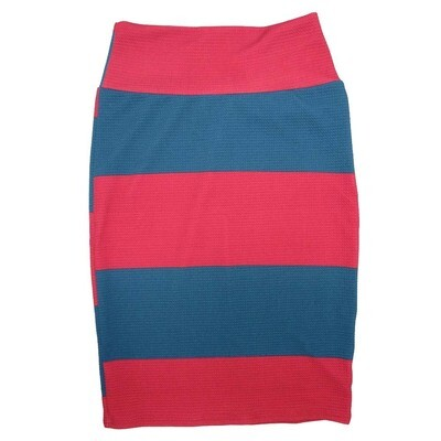 Cassie Small (S) LuLaRoe Two Tone Solid Stripe Red Blue Womens Knee Length Pencil Skirt Fits 6-8