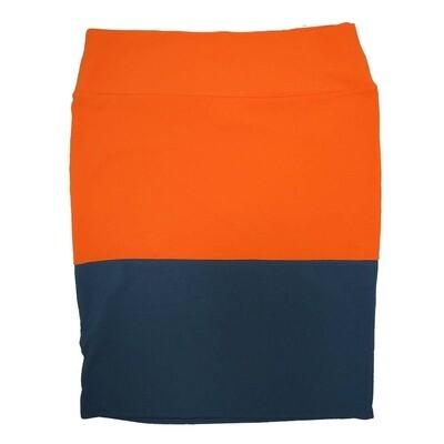 Cassie XXX-Large (3XL) LuLaRoe Two Tone Solid Navy Orange Womens Knee Length Pencil Skirt Fits 24-26
