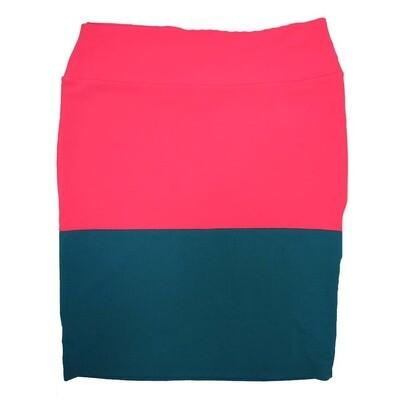 Cassie XXX-Large (3XL) LuLaRoe Two Tone Solid Watermelon Dark Blue Womens Knee Length Pencil Skirt Fits 24-26
